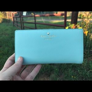 Kate Spade Mint Blue Leather Wallet For Bag Purse